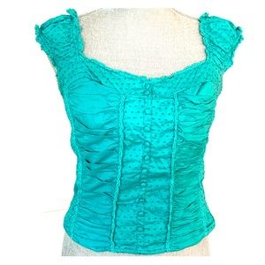 EUC Guess Turquoise Peasant Bustier Top, L